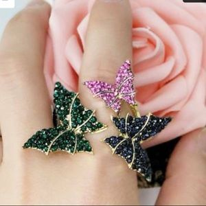 ❤️very gorgeous 3rhinestone colorful butterfly rin